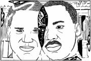Frimer Prints - Maze cartoon of MLK and Glenn Beck at Lincoln Memorial Print by Yonatan Frimer Maze Artist