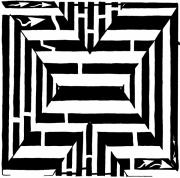 Maze Art Mixed Media Prints - Maze of the letter X Print by Yonatan Frimer Maze Artist