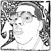 Yonatan Drawings - Maze Portrait of Jay-Z by Yonatan Frimer Maze Artist