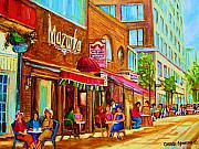 Montreal Summer Scenes Framed Prints - Mazurka Cafe Framed Print by Carole Spandau