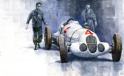 Mercedes Paintings - MB W125 GPcar 1937 by Yuriy  Shevchuk
