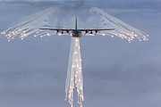 Front View Art - Mc-130h Combat Talon Dropping Flares by Gert Kromhout