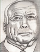 Presidential Drawings Posters - McCain Poster by Richard Heyman
