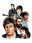 Mccartney Drawings Posters - McCartney - Heart of the Band  Poster by Jonathan Brown