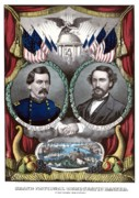 Union Drawings Framed Prints - McClellan and Pendleton Campaign Poster Framed Print by War Is Hell Store