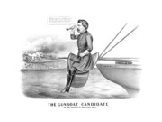 United States Drawings Prints - McClellan The Gunboat Candidate Print by War Is Hell Store