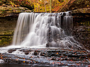 Indiana Autumn Prints - McCormicks creek Falls in Fall Print by Kenneth Keifer