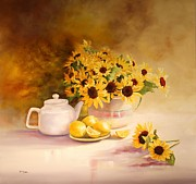 Mccoy Posters - McCoy Teapot and Sunflowers Poster by Diana  Tyson