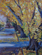 Yellow Leaves Pastels Prints - McDonald Ave. Ginkgos Print by Debbie Harding