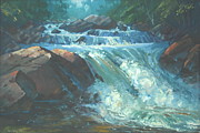 Overhanging Paintings - McDonald Brook Rapids by Len Stomski