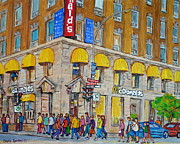 Fast Food Painting Framed Prints - Mcdonald Restaurant Old Montreal Framed Print by Carole Spandau