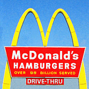 Vintage Sign Prints - McDonalds Hamburgers . Over 99 Billion Served Print by Wingsdomain Art and Photography