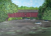 Covered Bridge Painting Metal Prints - McGees Covered Bridge Metal Print by Veronica Muse