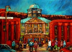 Montreal Streetscenes Painting Prints - Mcgill Gates Montreal Print by Carole Spandau