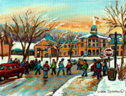 Winter Scenes Paintings - Mcgill Gates Sherbrooke Street Montreal by Carole Spandau