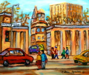 Montreal City Scapes Paintings - Mcgill Roddick Gates by Carole Spandau