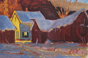 Lit Painting Originals - McHalski Farm 2 by Len Stomski