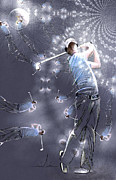 Sports Art Digital Art Posters - McIlroy Mania Poster by Miki De Goodaboom
