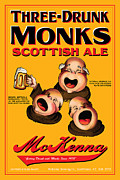 German Ale Drawings - McKenna Three Drunk Monks by John OBrien