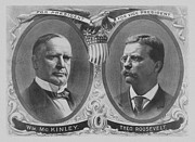 Us Presidents Drawings Framed Prints - McKinley and Roosevelt Election Poster Framed Print by War Is Hell Store