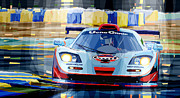Gulf Metal Prints - McLaren BMW F1 GTR Gulf Team Davidoff Le Mans 1997 Metal Print by Yuriy  Shevchuk