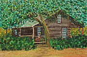Ground Paintings - McMullen-Coachman Log House by Terri Mills