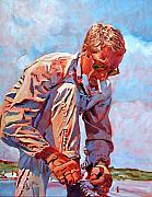 Famous People Portrait Prints - McQueen Cool - Steve McQueen Print by David Lloyd Glover