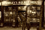 City Snow Prints - McSorleys Old Ale House Print by Randy Aveille