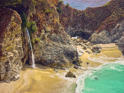 Rikka-chan  Framed Prints - McWay Falls on the California Coast Framed Print by Rikka-chan