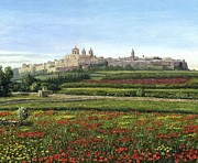Realist Art Posters - Mdina Poppies Malta Poster by Richard Harpum