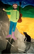 Mountain Road Pastels Prints - Me and Mr. Black Cat Hit the Road Print by Eliezer Sobel