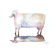Sheep Art - Me And My Colorful Shadow by Arline Wagner