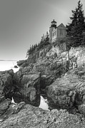 White Lighthouse Prints - ME0034 Bass Harbor Lighthouse Print by Steve Sturgill