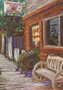 Town Drawings Originals - Mead Cafe by Athena  Mantle