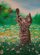 Stephaniemoore Posters - Meadow Cat Poster by Stephanie Moore