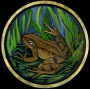 Rural Living Painting Posters - Meadow Frog Poster by Anna Folkartanna Maciejewska-Dyba