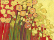 Vivid Orange Paintings - Meadow in Bloom by Jennifer Lommers