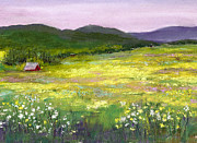 Green Grass Pastels Posters - Meadow of Flowers Poster by David Patterson