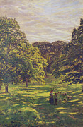Woods; Shadows; Trees Paintings - Meadow Scene  by John William Buxton Knight