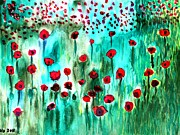 Poppies Field Paintings - Meadow with Poppies by Valerie Ornstein