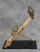 Branch Sculpture Framed Prints - Meadowlarks Framed Print by Karen  Peterson