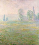 Prairies Paintings - Meadows in Giverny by Claude Monet
