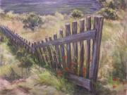 Poppies Field Pastels - Meandering Fence by Ann Caudle
