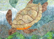 Sea Turtle Tapestries - Textiles Posters - Meandering Sea Turtle Poster by Judy Sauer