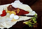 Meat Paintings - Meat and Eggs by Pg Reproductions