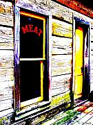 Cabin Window Prints - Meat Market Print by Ed Smith