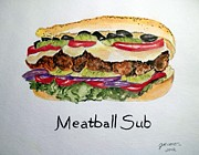 Sandwich Painting Framed Prints - Meatball Sub Framed Print by Carol Grimes