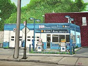 Gas Stations Prints - Mecanique Amical Inc. Pointe St. Charles Print by Reb Frost