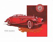 Mercedes Automobile Drawings - mecedes benz 540K roadster by Mike  Goebel