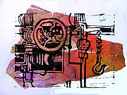 Lino Print Framed Prints - Mech Heating Up Framed Print by Adam Kissel